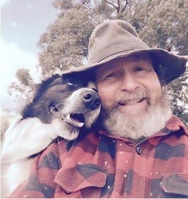 dad dog adoring eyes