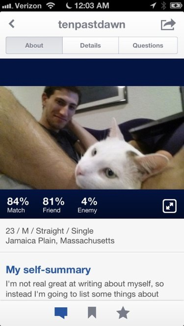 Tinder profile of man with cat growing out of foot