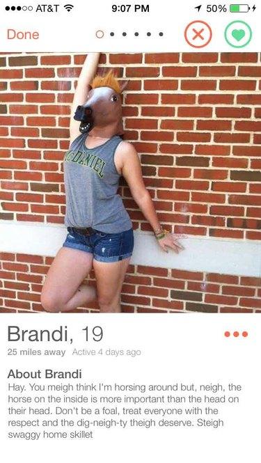 Girl's Tinder bio