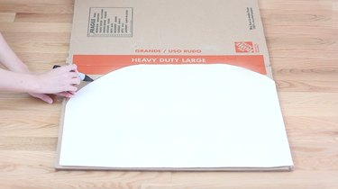 tracing template onto flattened box