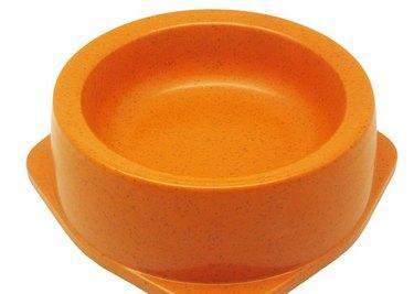 Bamboo pet bowls.