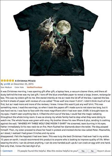 Funny Amazon reviews (Three Wolf Moon tshirt)