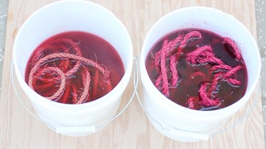soaking rope in RIT dye
