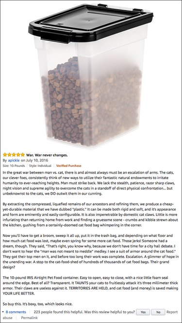 Funny Amazon reviews (airtight pet food container)