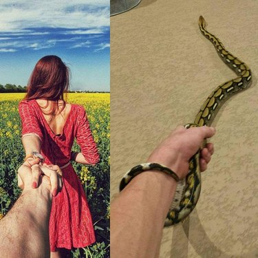 A man holds hands with a girl in one photo and with a snake in the other.