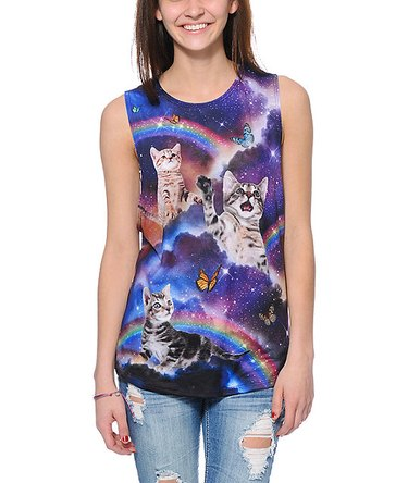 Shirt with kittens and rainbows