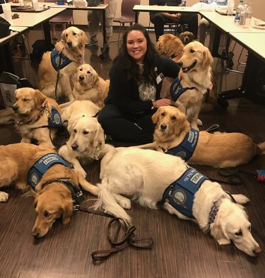 A whole bunch of service dogs visited a hospital in Las Vegas