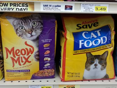 A bag of no-name cat food with a really sad cat on the package.