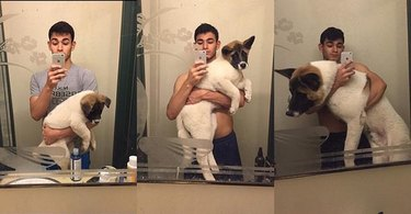 man with his dog growing up in 3 pictures