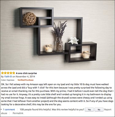 Funny Amazon reviews (intersecting wall self)