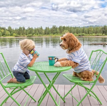 Reagan and Little Buddy coffee break