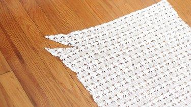 Slit cut in corner of fabric