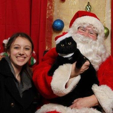 Cat sitting in Santa's lap
