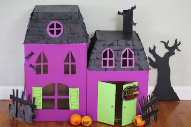 Front view of haunted pet house