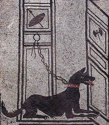Ancient mosaic of a dog