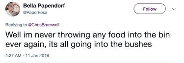 throwing food in bushes now tweet
