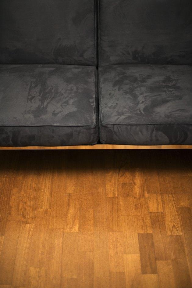 Couch on hardwood floor