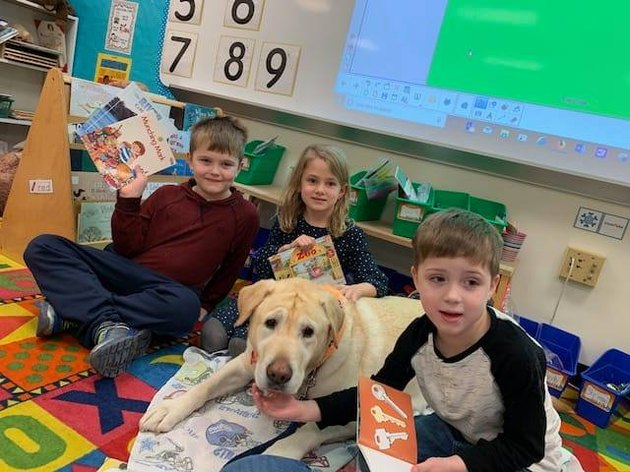 dog helping child read