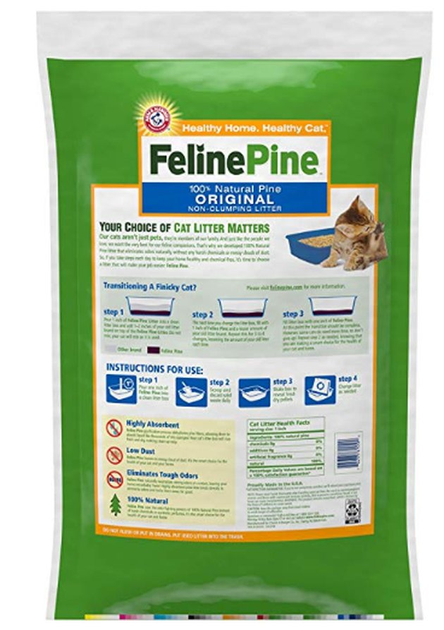 A bag of Feline Pine cat litter