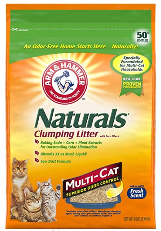 A bag of Arm & Hammer Naturals Clumping Litter