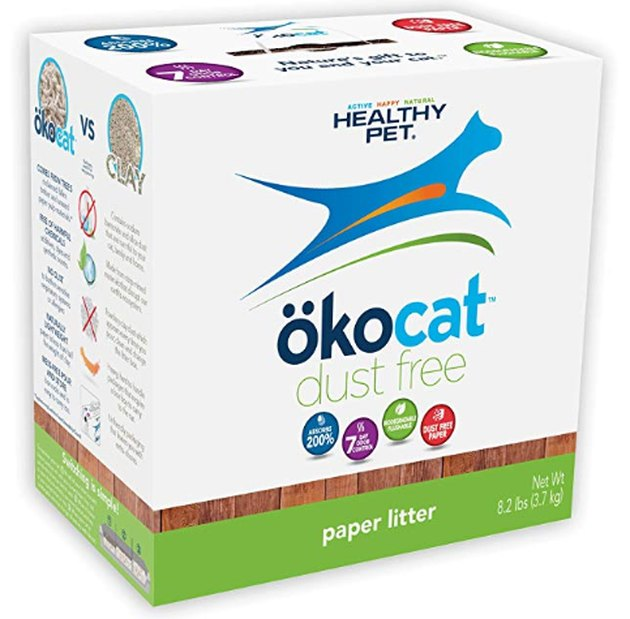 A carton of Okocat cat litter
