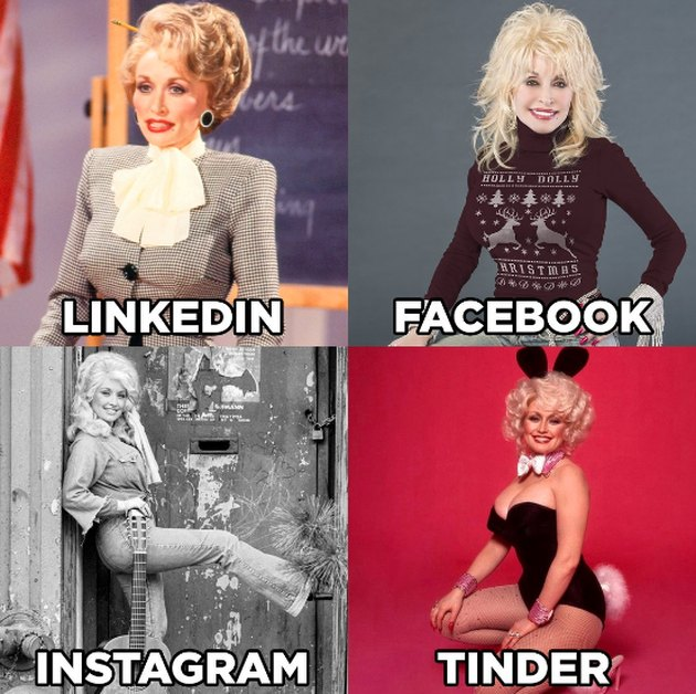 dolly parton in a collage of four different photos that are labeled linkedin, facebook, instagram, and tinder