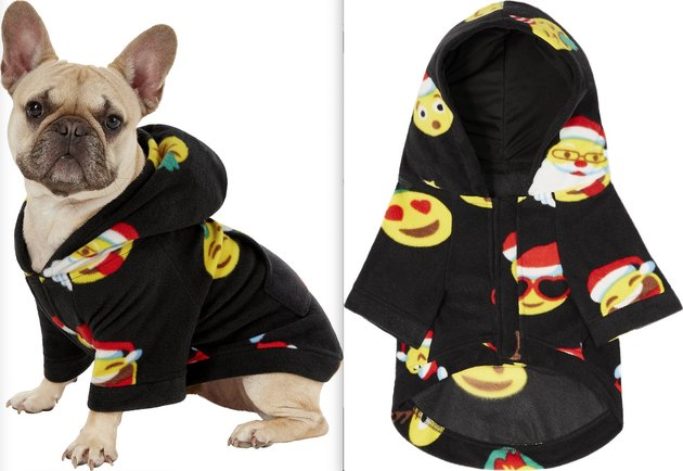 dog wearing Holiday Emoji Dog Fleece Pajamas