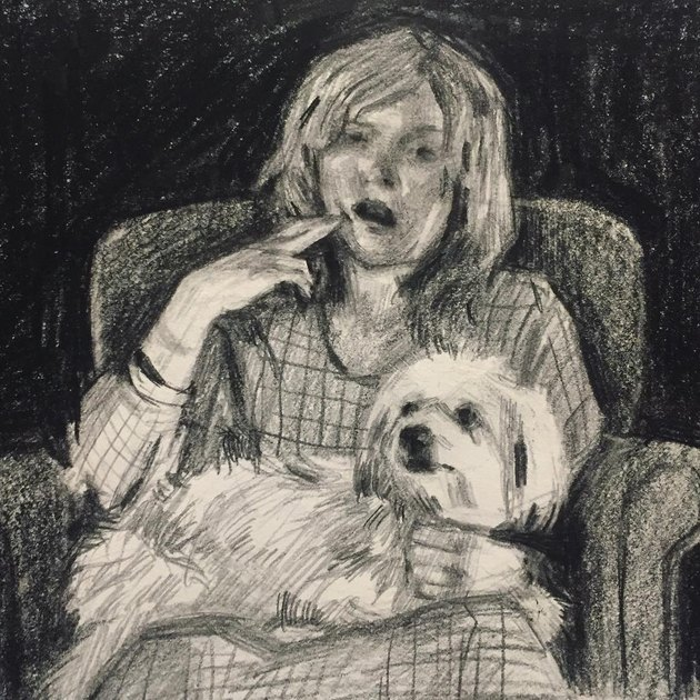 Drawing of woman with dog in chair