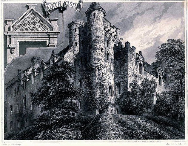 drawing of Airth Castle in Scotland