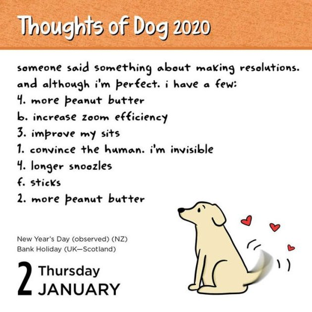 sample art for Thoughts of Dog 2020 calendar