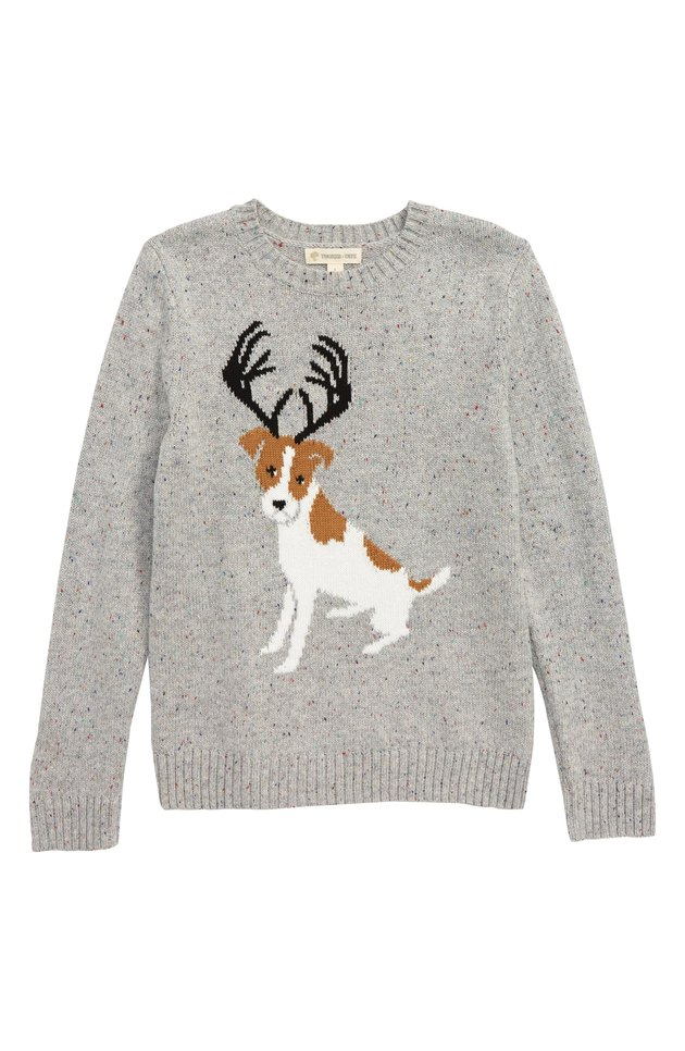 dog with antlers on children's knit sweater