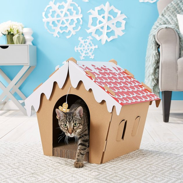 cardboard cat scratcher shaped like gingerbread house
