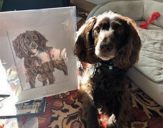 dog next to its custom portrait