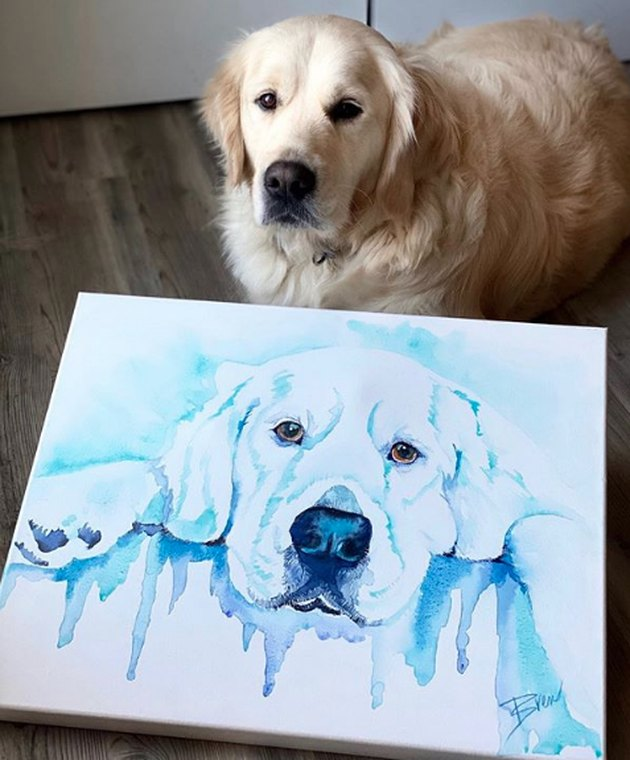 golden retriever with a watercolor portrait