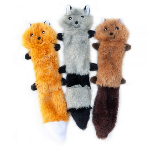 Three Zippy Paws skinny peltz toys