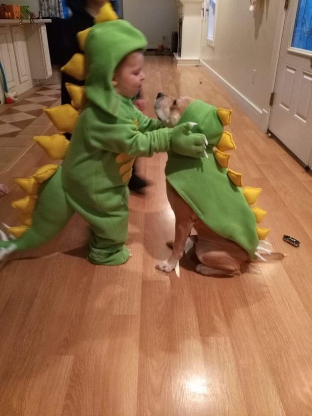 Dog and toddler in matching dinosaur onesies.