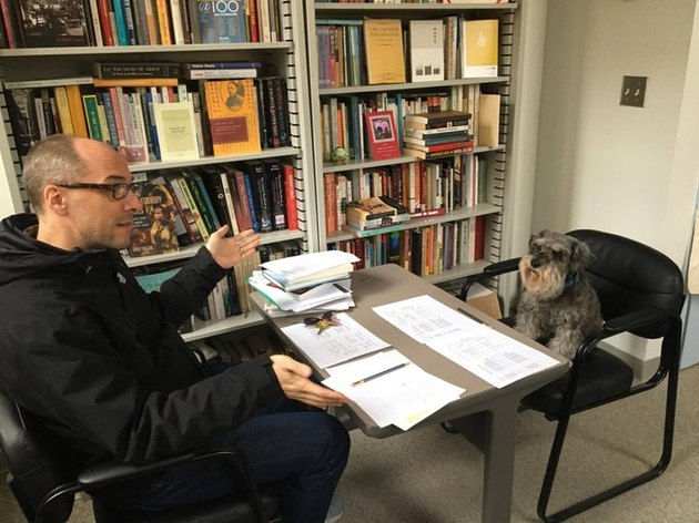 professor hosts office hours with dog