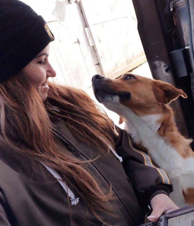 Dog looking lovingly at female UPS driver