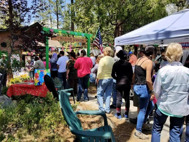 Visitors lining up for Dog Mayor Max's birthday in Idyllwild