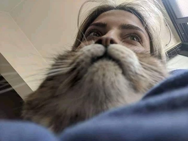 woman with cat beard