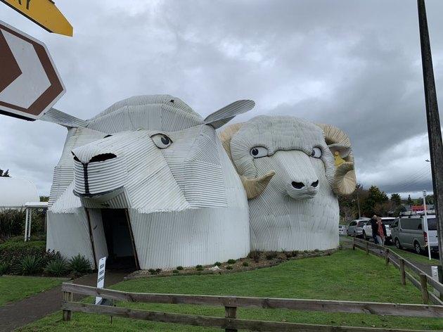 New Zealand buildings shaped like sheep and ram