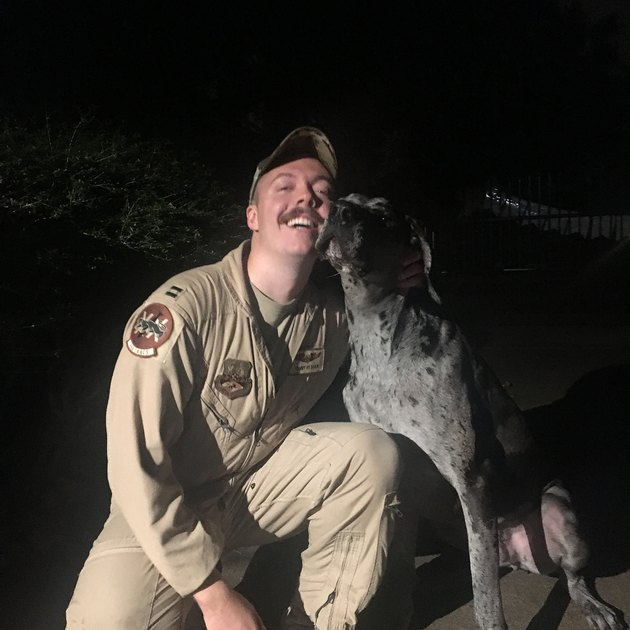 Dog cuddles with soldier