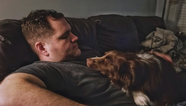 Dog snuggles with soldier packing for deployment
