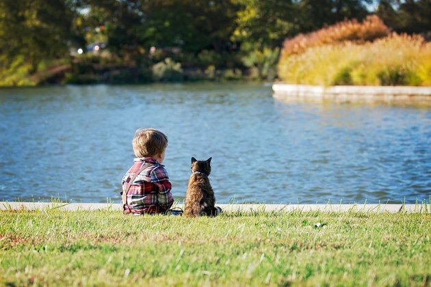 Cat and child sitting by a lake.