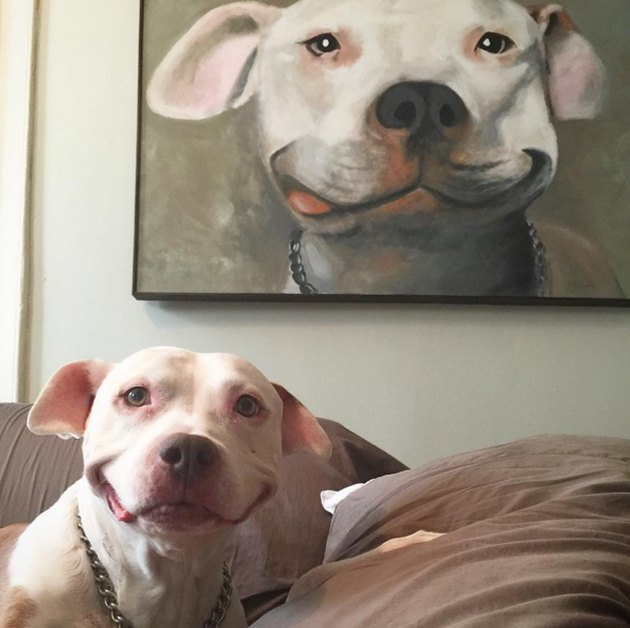 Smiling dog with painting of itself