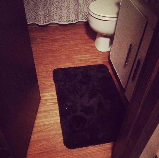 woman trips over black cat sleeping on black rug mat