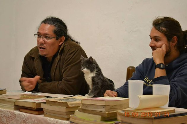 Kitten between to people at table covered with books.