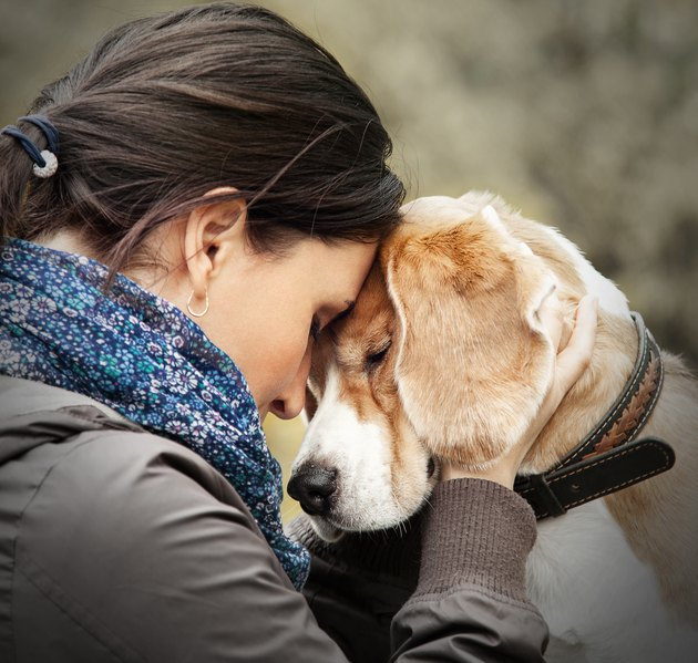 woman pressing her forehead against her dog