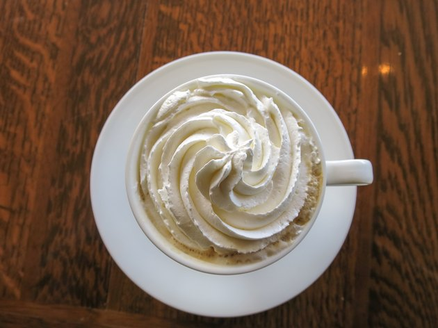 High Angle View Of Coffee With Whipped Cream