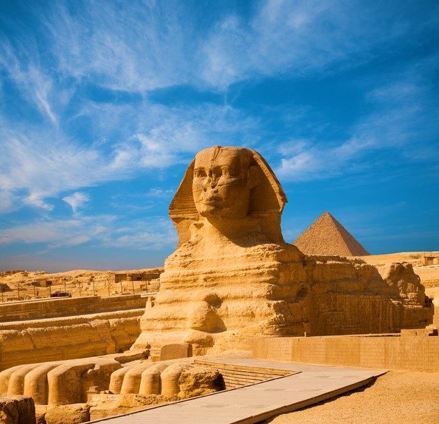 Great Sphinx Body Blue Sky Pyramid Giza Egypt